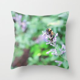 Bee in the Purple Flowers Throw Pillow
