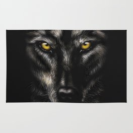 hand-drawing portrait of a black wolf on a black background Rug