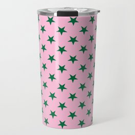 Cadmium Green on Cotton Candy Pink Stars Travel Mug