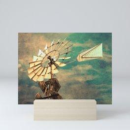 Rustic Windmill against Cloudy Sky Modern Country Art A520 Mini Art Print
