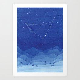 Capricorn Constellation, Mountains Art Print