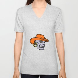 Cowboy Pirate Skull Mono Line Art Unisex V-Neck