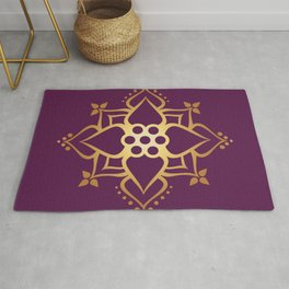 Indian Golden Art Lotus flower Mandala Pattern with Elegant Fuxia background color Rug