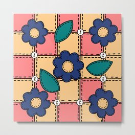 Retro Doodle Flower Style Quilt - Coral Yellow Dark Blue Metal Print