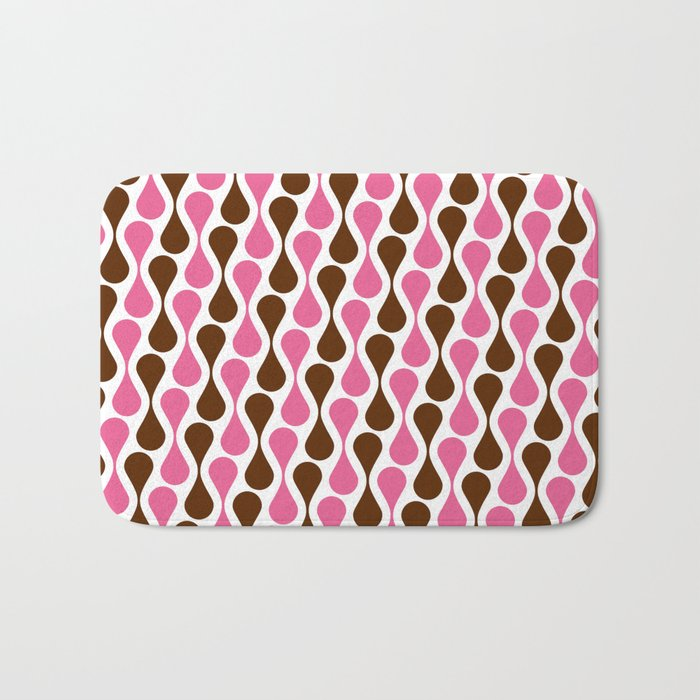 Retro pattern pink and brown Bath Mat
