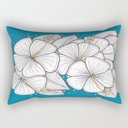 Zentangle Blue and Gold Hibiscus Blossoms for Flower Lovers Rectangular Pillow