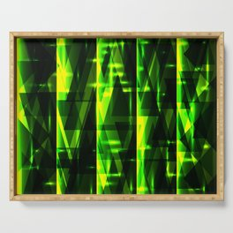 Luxurious green stripes and metallic triangles of blades of grass create abstraction and glow. Serving Tray