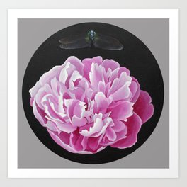 The Peony and the Dragonfly Art Print