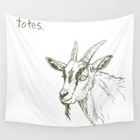 totes Wall Tapestries featuring Totes ma Goats by Lauryn M
