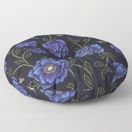 Midnight Hellebore Floor Pillow