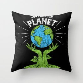 Retro Vintage Save Our Planet Plant Tree Earth Day Throw Pillow