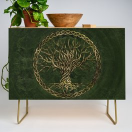 Tree of life -Yggdrasil -green and gold Credenza