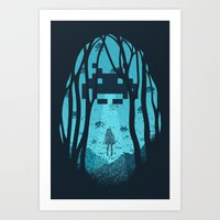 8 bit Art Prints featuring 8 Bit Invasion by filiskun