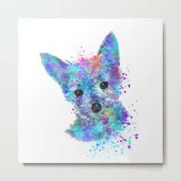 Colorful Watercolor Puppy Dog Metal Print
