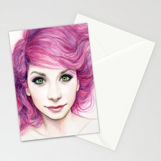 Pink Hair Green Eyes Beautiful Girl Stationery Cards