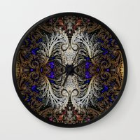 ornate Wall Clocks featuring Ornate by RingWaveArt