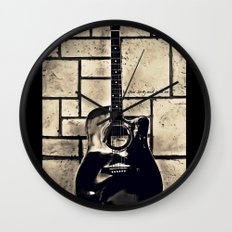 Be Your Song and Rock On in Black Wall Clock