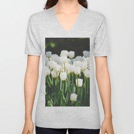 White Tulips Unisex V-Neck