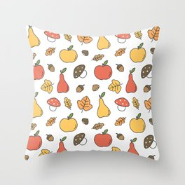 cute colorful autumn fall pattern with pears, apples, leaves, acorns, chestnuts and mushrooms Throw Pillow