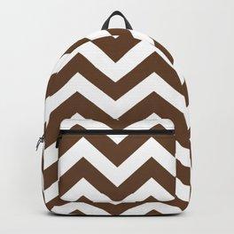 Van Dyke brown - brown color - Zigzag Chevron Pattern Backpack