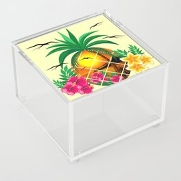 Pineapple Tropical Sunset, Palm Tree and Flowers Acrylic Box