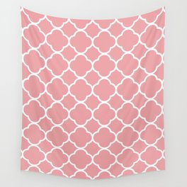 Salmon Red Quatrefoil Wall Tapestry