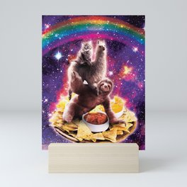 Space Cat Llama Sloth Riding Nachos Mini Art Print