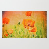 poppies Area & Throw Rugs featuring POPPIES by Teresa Chipperfield Studios