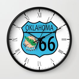 Route 66 Oklahoma sign and Flag Wall Clock