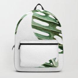 Circular Monstera Leaf Painting Backpack