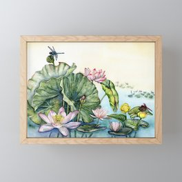 Japanese Water Lilies and Lotus Flowers Framed Mini Art Print
