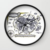 neverland Wall Clocks featuring Neverland Illustration  by Mark Karwowski