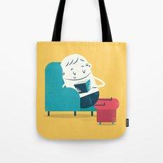 :::Reading on sofa::: Tote Bag