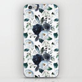 Watercolor navy blue elegant white bohemian floral iPhone Skin