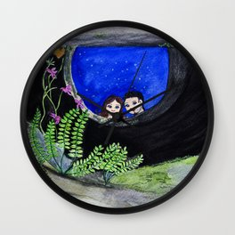 The Well of Wishes, an illustration by Ines Zgonc Wall Clock