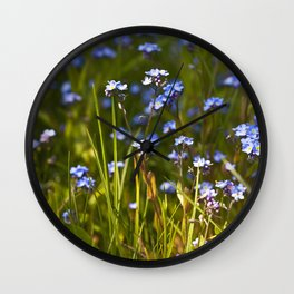 Lovely Blue Forget Me Not Flowers  Wall Clock