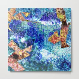 Abstract Structure, Blue, Gold, Pink, Peach, Teal  Metal Print