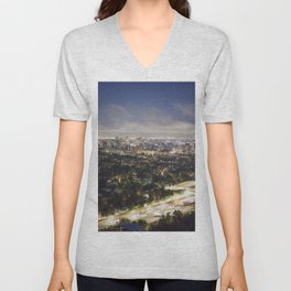 View of Los Angeles from the Getty Museum at Dusk Unisex V-Neck
