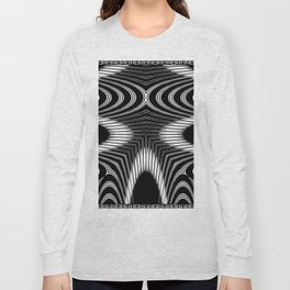 Geometric Black and White Skeleton African-Inspired Pattern Long Sleeve T-shirt