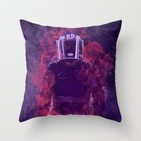 police Throw Pillows featuring Karma Police by victor calahan