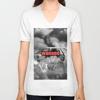 gta v V-neck T-shirts featuring Wasted GTA by JOlorful
