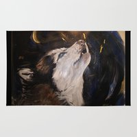 husky Area & Throw Rugs featuring Howling Husky by Artist Amanda Rose