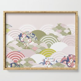 scales simple Nature background with japanese sakura flower, rosy pink Cherry, wave circle pattern Serving Tray