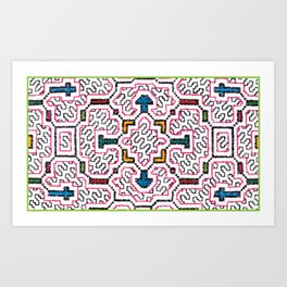 Physical Healing Icaro - Traditional Shipibo Art - Indigenous Ayahuasca Patterns Art Print