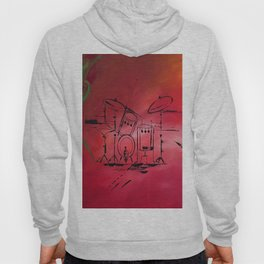 Music, Drummer, Drums, Orignal Artwork By Jodi Tomer. Rock and Roll Drums Hoody