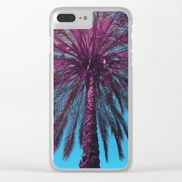 Purple Palm Tree Clear iPhone Case