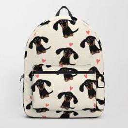 Dachshund Love | Cute Longhaired Black and Tan Wiener Dog Backpack