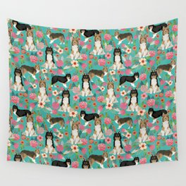 Shetland Sheep Dog florals cute dog breed illustration pattern gifts for dog lover by pet friendly Wall Tapestry