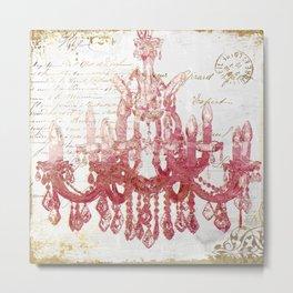 Blush Pink Chandelier Metal Print