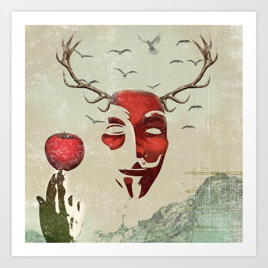 isaac and his apple Art Print